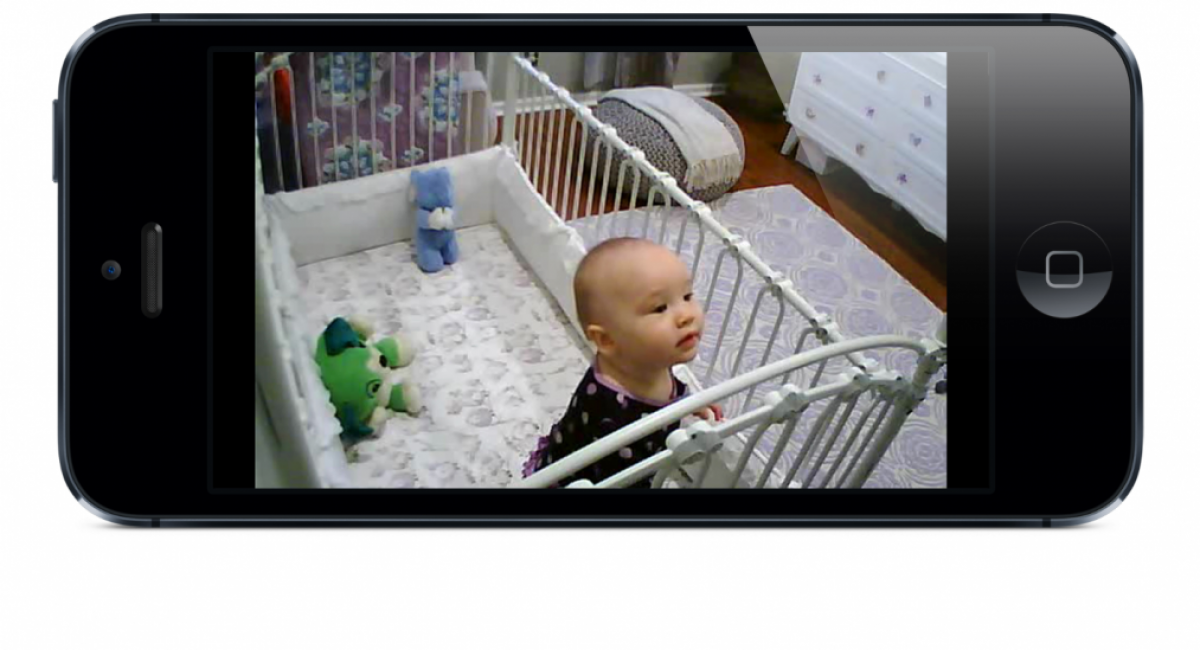 nanny cam watching a baby in its cot